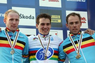 Elite Men's podium in Tabor, from left: Vantornout, Stybar, Nys ? Bart Hazen