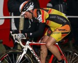 Rene Birkenfield puts his head down and pedals on at the Superprestige. © Bart Hazen
