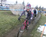 Defending 40+ champ Gina Hall leading eventual winner Wendy Williams. © Cyclocross Magazine