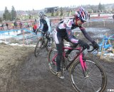 Gina Hall didn't want to wait for a sprint but Wendy Williams held on to outkick Hall. © Cyclocross Magazine