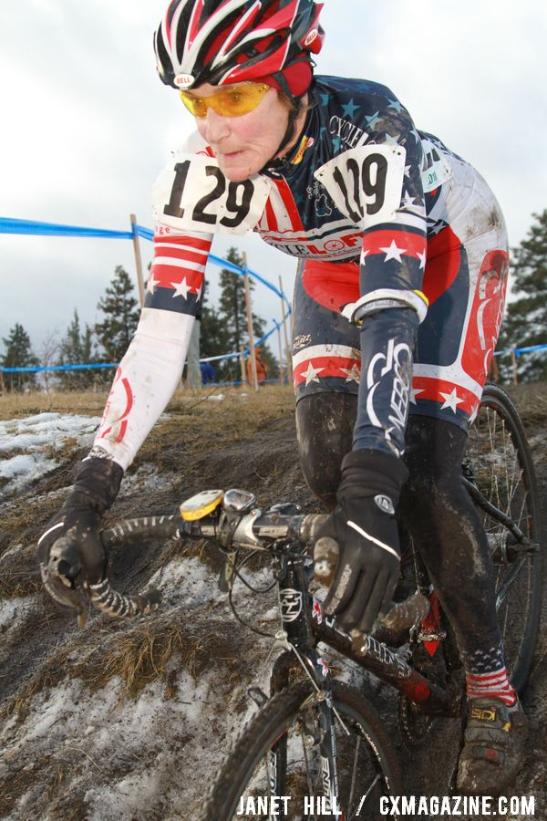 Julie Lockhart was uncontested in her 70+ win. Cyclocross Nationals Day 2 © Janet Hill