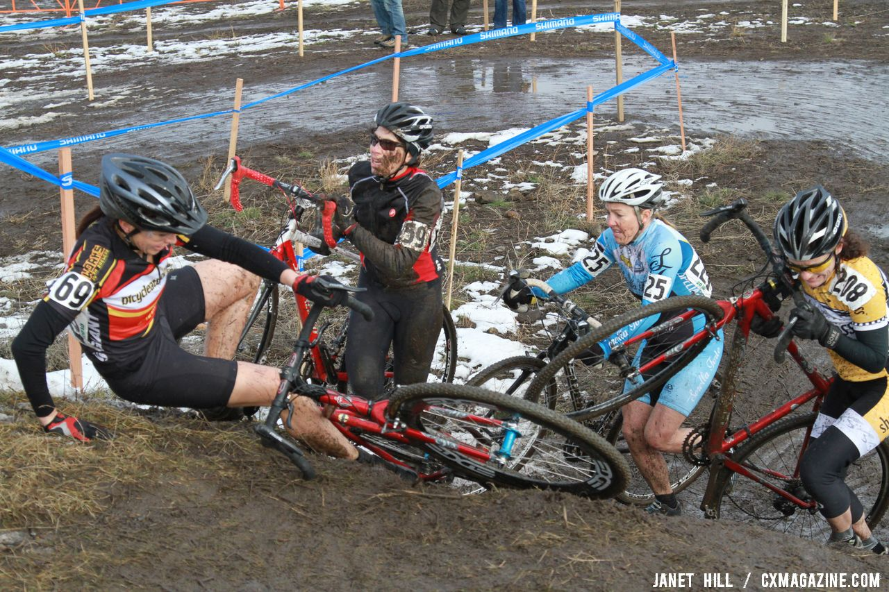 Crashes aplenty on the slick, muddy course. Cyclocross Nationals Day 2 © Janet Hill