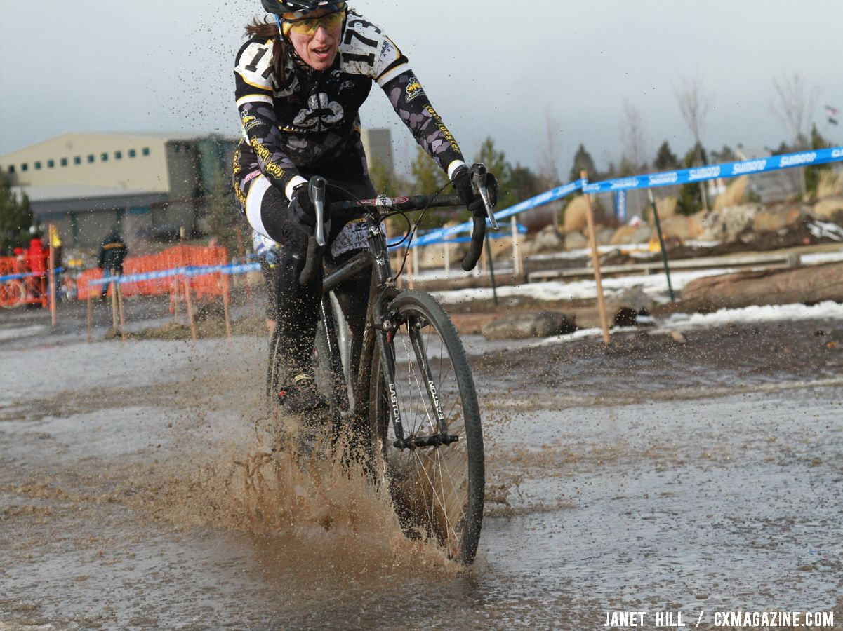 The pit was right next to a big puddle. Cyclocross Nationals Day 2 © Janet Hill
