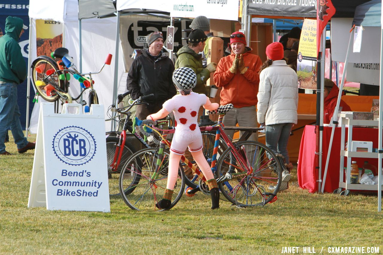 This knitted bike and manequin are up for auction. Cyclocross Nationals Day 2 © Janet Hill