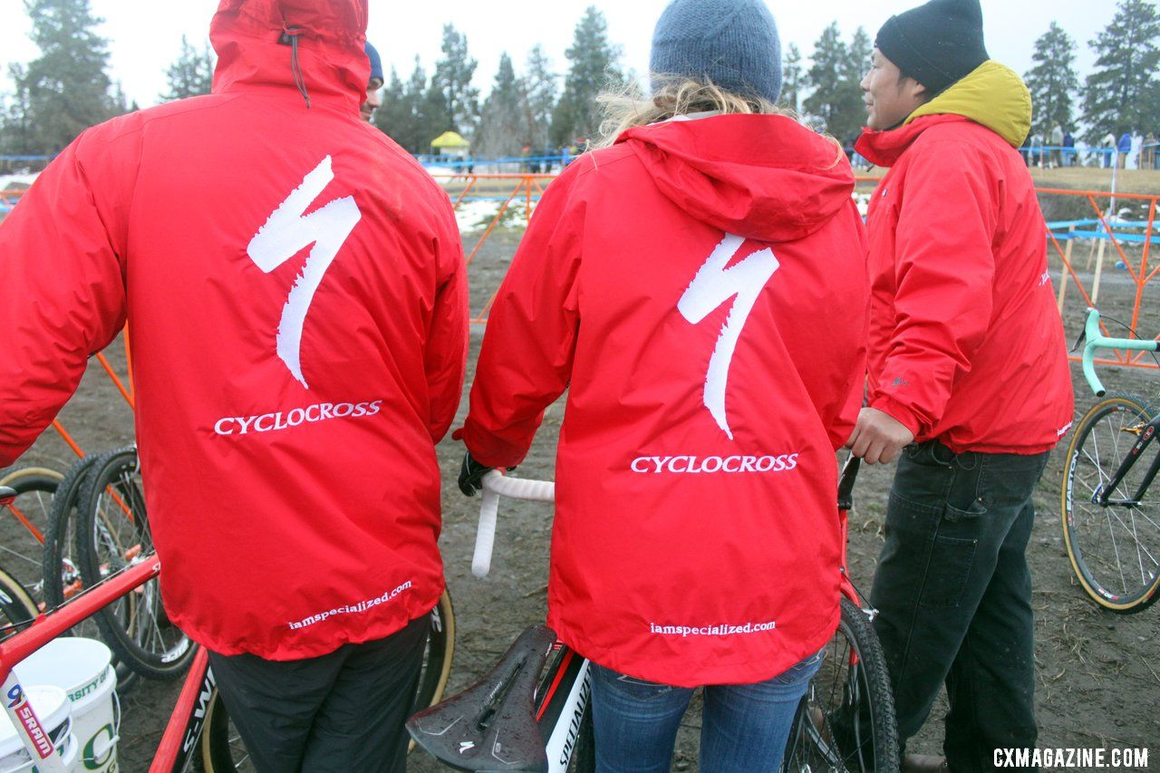 Pit row shows where their loyalties lie. © Cyclocross Magazine