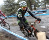 Robinson takes a corner in the slick conditions. © Cyclocross Magazine