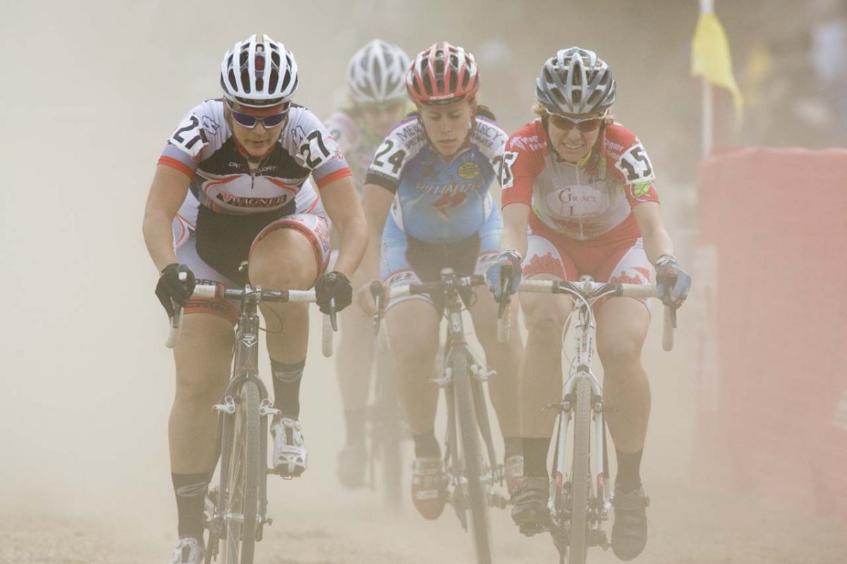 Nicole Borem (DRT), Kimberly Flynn (Grace Law) and Robin Williams (Mercy Specialized) during the Women\'s Elite race © Greg Sailor – VeloArts