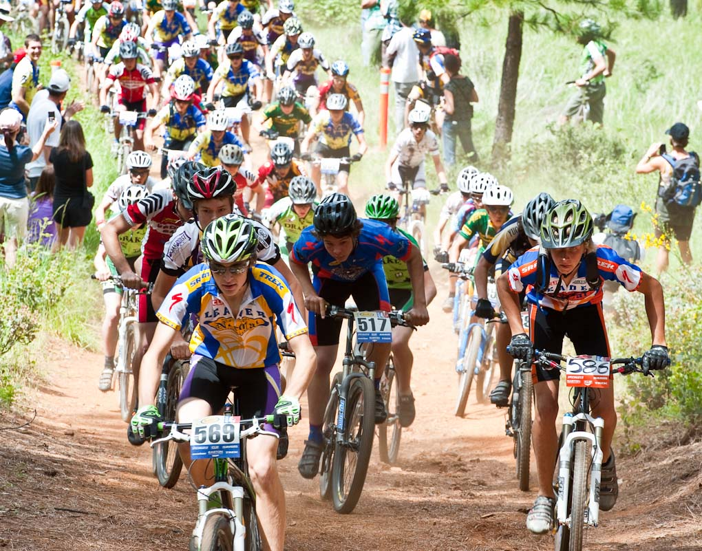 Salinas High\'s Steven Larson (586) leads Newport Beach\'s Alex Milewski (586) at the Soph Boy\'s Division 1 race during the NICA California State Championships at Loma Rica Ranch in Grass Valley, California on May 16, 2010. © Robert Lowe.