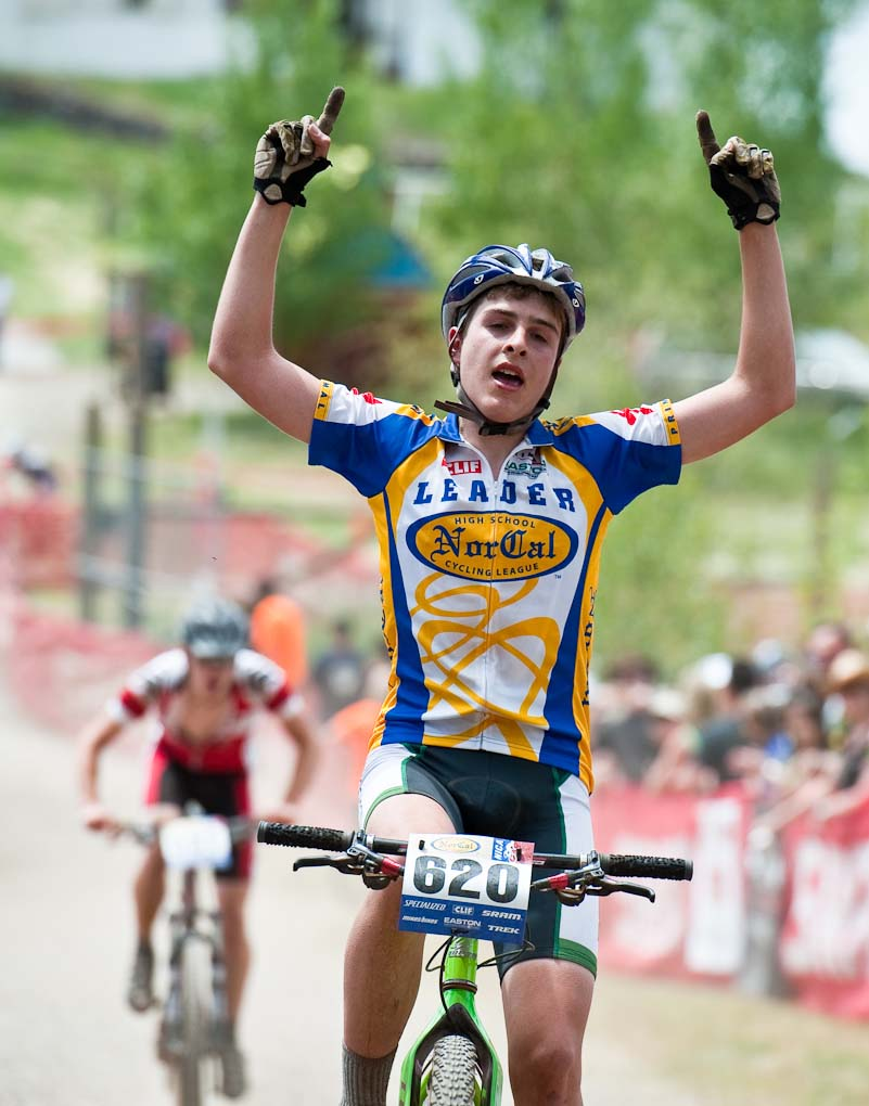 Branson\'s Eliel Anttila enjoys winning the Soph Boy\'s Division 2 race during the NICA California State Championships at Loma Rica Ranch in Grass Valley, California on May 16, 2010. © Robert Lowe.
