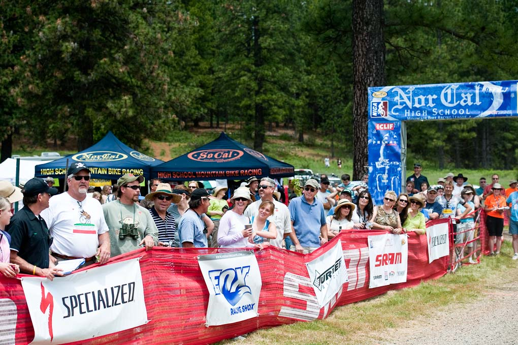 The finish line crowd during the NICA California State Championships at Loma Rica Ranch in Grass Valley, California on May 16, 2010. © Robert Lowe.
