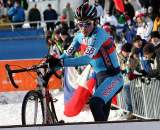 Mongolia's Myagmarsuren Baasankhuu had a respectable race, finishing on the lead lap. 2010 U23 Cyclocross World Championships. ? Bart Hazen