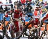 Three entrants, three at the front. 2010 U23 Cyclocross World Championships. ? Bart Hazen