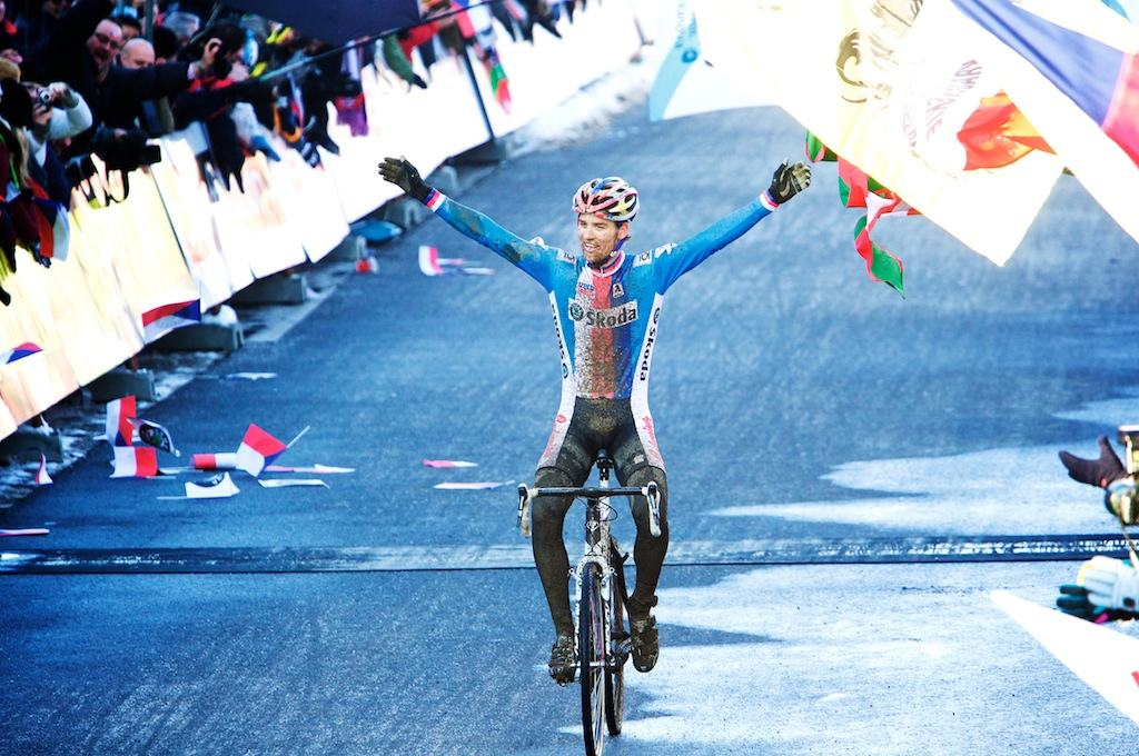 Home town favorite Zdenek Stybar cruises to victory in the 2010 Cyclocross World Championships in Tabor, Czech Republic.  ? Joe Sales