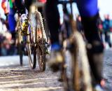 Snow and ice made conditions and tire choice tricky at the 2010 Cyclocross World Championships in Tabor, Czech Republic.  ? Joe Sales