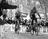 Klaas Vantornout chases Zdenek Stybar at the 2010 Cyclocross World Championships in Tabor, Czech Republic.  ? Joe Sales