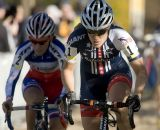 Katie Compton, #1,(Rabobank) is followed through the sand pit by Carolin Mani, #2, (SRAM) in the Women's Elite race. © Greg Sailor - VeloArts.com