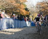 Zach McDonald, #23 (Rapha-Focus) leads the field across the sand during the first lap of the Men's Elite Race.