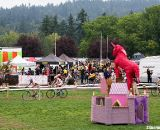 The race unicorn keeps watch over its castle as riders race past. ©Pat Malach