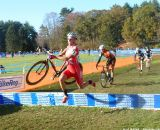 Pat Bradley takes the barriers fast. © Cyclocross Magazine