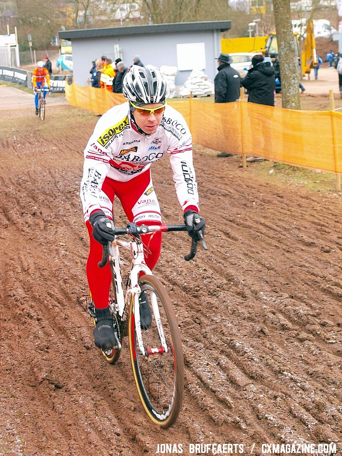 Riders tested a variety of lines through the ruts.