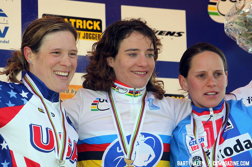 The women\'s podium: Compton, Vos, Nash