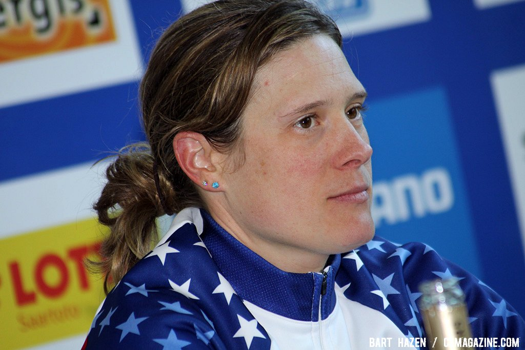 Katie Compton describes the race at the press conference