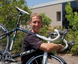 Dave Koesel, Felt's Brand Manager for cyclocross, shows off the 2011 Felt F75X. © David Lawson