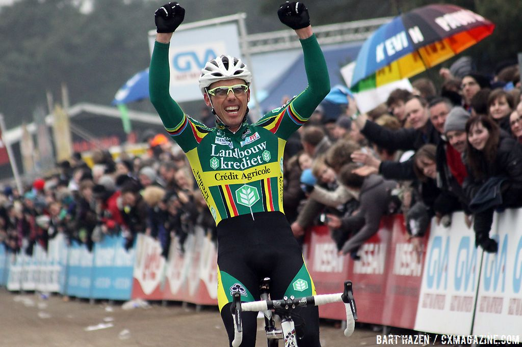 Sven Nys celebrates his eight overall win in the GVA trophy.