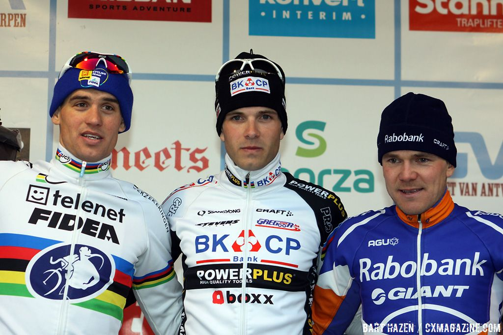The men\'s race podium: winner Niels Albert, second Zdenek Stybar and third Bart Aernouts.