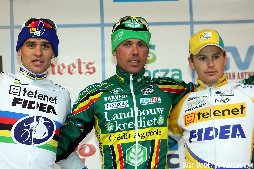 The final podium of the GVA series with winner Sven Nys, second Zdenek Stybar and third Kevin Pauwels.