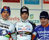 The men's race podium: winner Niels Albert, second Zdenek Stybar and third Bart Aernouts.
