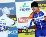 Katie Compton congratulates new teammate Marianne Vos on the win © Bart Hazen