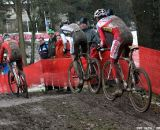 Arnaud Grand leads the chasing group for second followed by David van der Poel and Sven Beelen © Bart Hazen