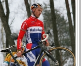 Lars Boom standing on top of the Zolder descent in his pre-ride, getting the nerve up to ride it ©Danny Zelck
