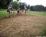 The chase group following Powers and Field. © Cyclocross Magazine
