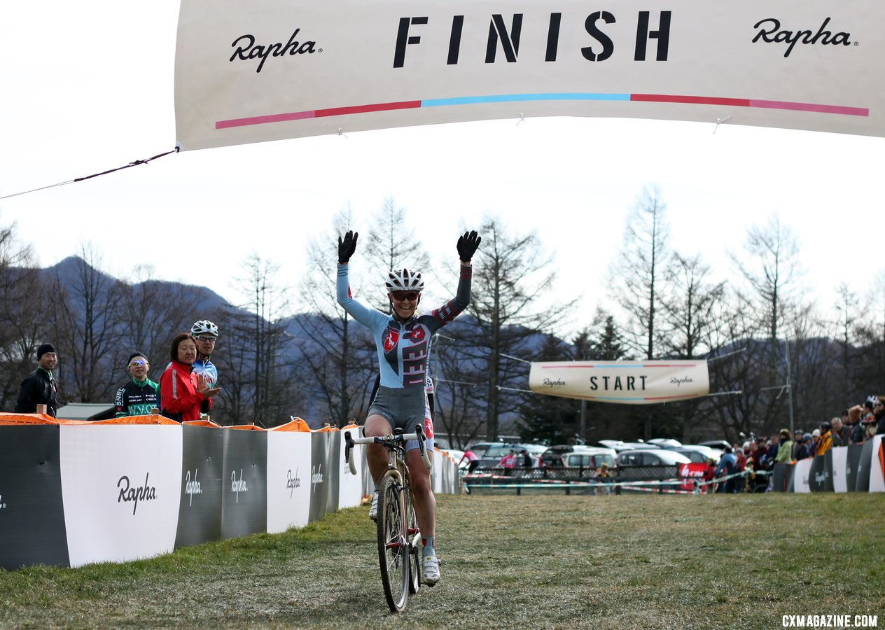 Brubaker celebrates her third. 2011 Nobeyama, Japan UCI Cyclocross Race. © Cyclocross Magazine