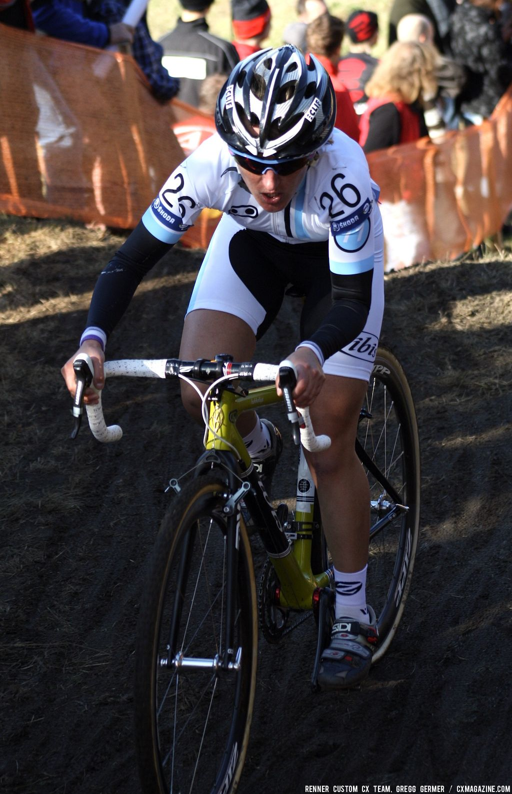 Amy Dombroski on the hill. © Renner Custom CX Team, Gregg Germer
