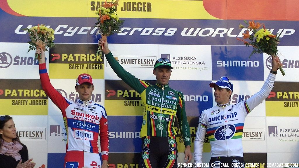 Men\'s Podium (l to r): Pauwels, Nys, Stybar. © Renner Custom CX Team, Gregg Germer