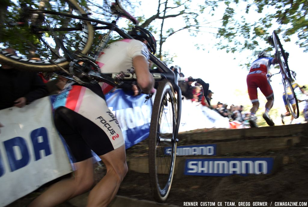 Jeremy Powers on the stairs. © Renner Custom CX Team, Gregg Germer