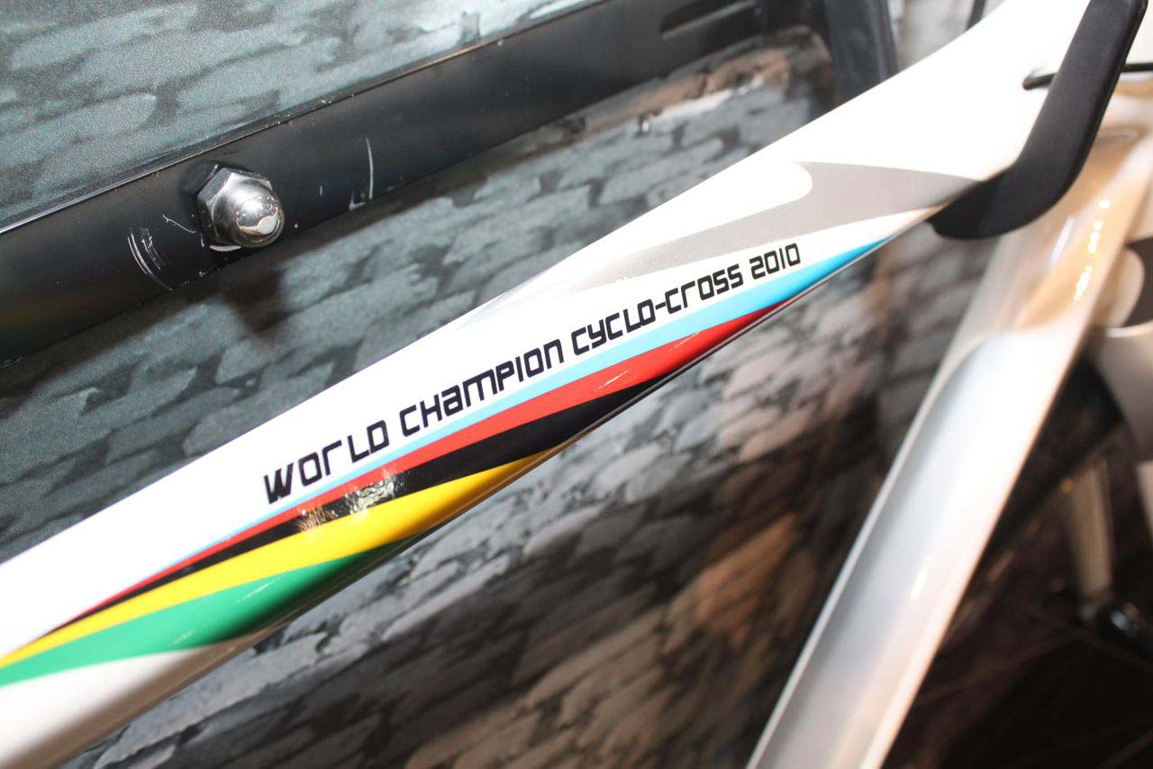 In case the stripes didn\'t make it obvious, it\'s a winning ride. © Cyclocross Magazine