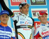 The Elite podium with Niels Albert, Bart Aernouts and Klaas Vantornout. © Bart Hazen