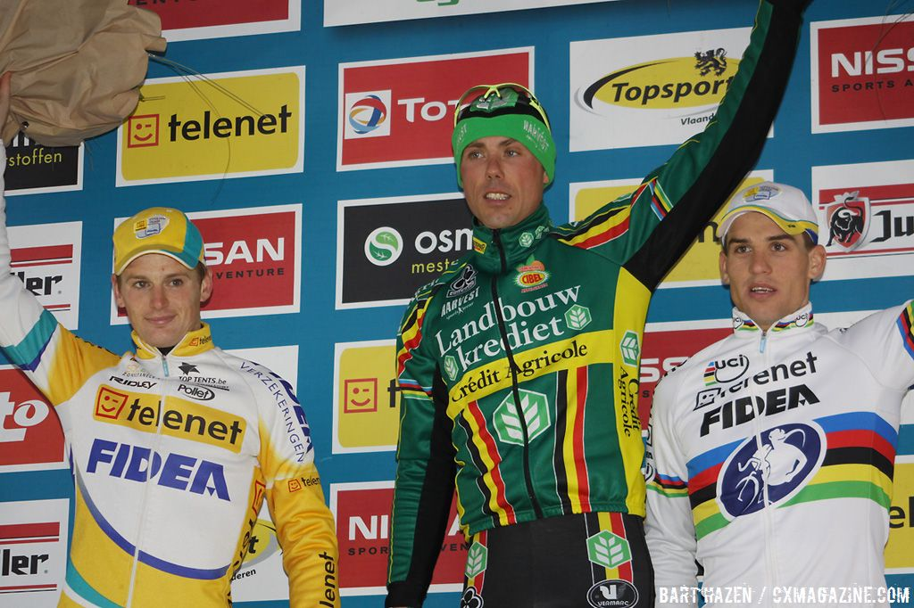 Final podium of the Superprestige; Sven Nys (1), Kevin Pauwels (2) and Zdenek Stybar (3)