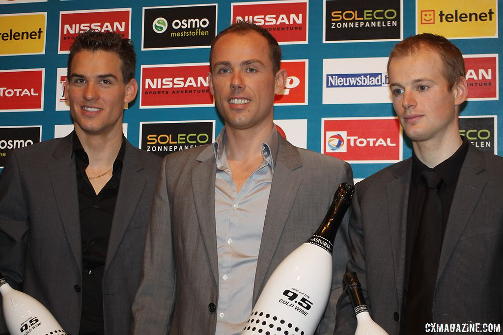The final podium of the Superpestige Series 2010-2011: Winner Sven Nys, second Kevin Pauwels and third Zdenek Stybar.