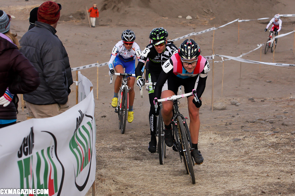 Julie Krasniak leads Nicole Duke, Teal Stetson-Lee and Katerina Nash during the first half of the race.©Pat Malach