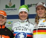 The women's podium with Marianne Vos, Sanne van Paassen and Hanka Kupfernagel.