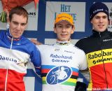 The U23 podium with Lars van der Haar, Mathieu Boulo and Joeri Adams