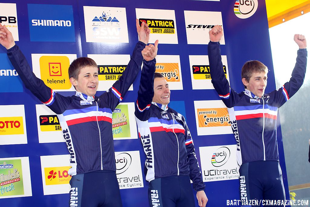An all French podium at the Junior Worls with Clement Venturini, Fabien Doubey and Loic Doubey ©Bart Hazen