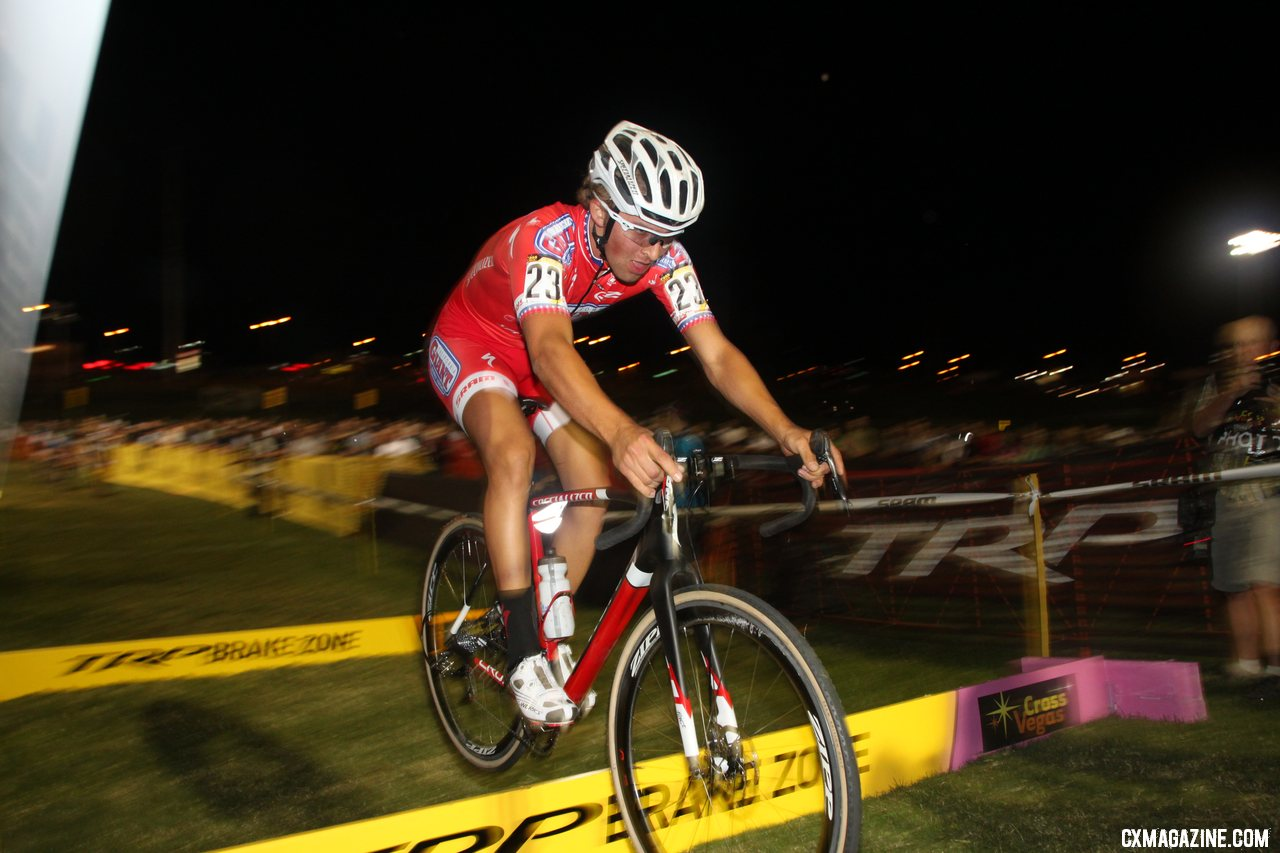 Cody Kaiser putting on a show for the crowd. CrossVegas 2012. ©Cyclocross Magazine