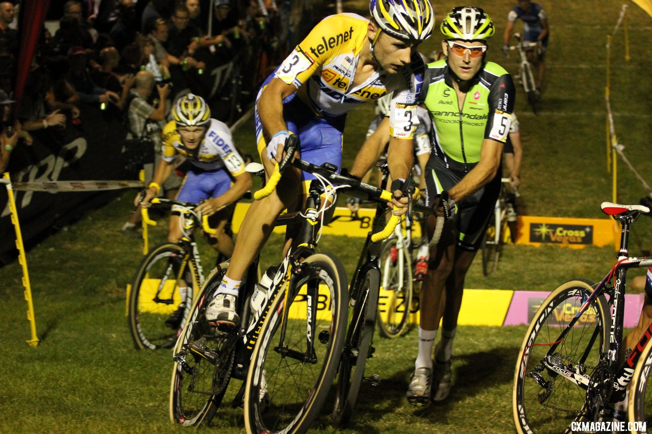 Trebon sizes up his competition at CrossVegas 2012. ©Thomas van Bracht / Cyclocross Magazine