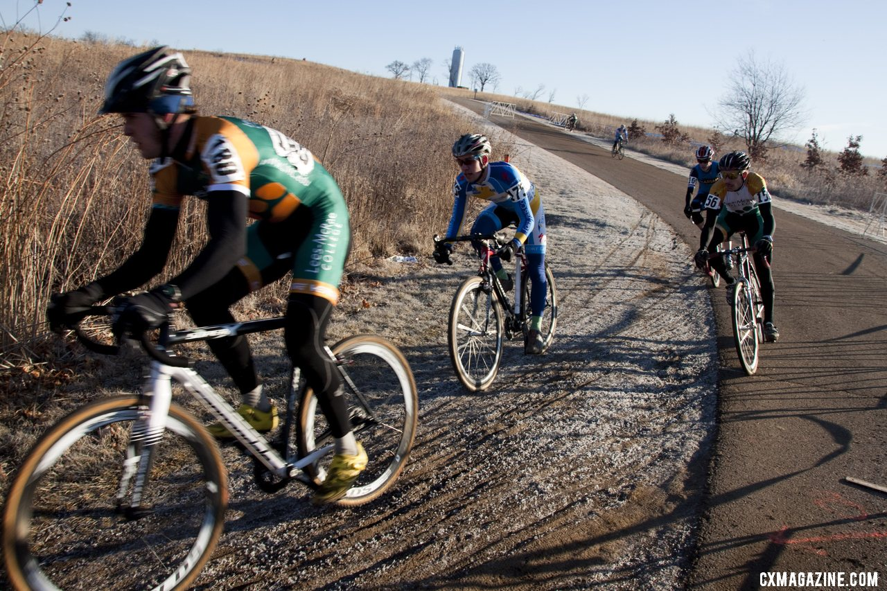 The first lap revealed an early lead group of four, including Werner, Trujillo, Emsky and Marian\'s Johnson. ©Cyclocross Magazine
